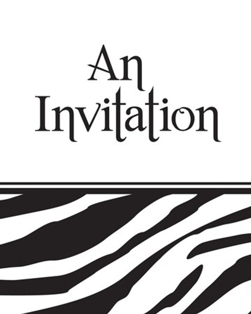 Animal Print Zebra Invitation Cards & Envelopes