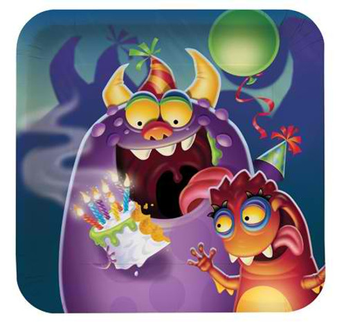 "Monster Mania 7"" Square Lunch Plates"