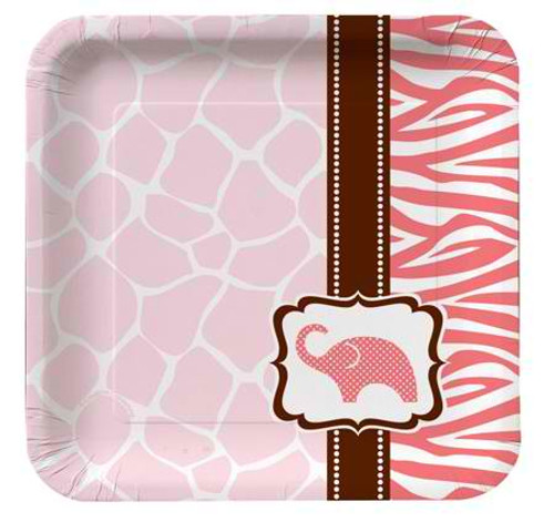 "Wild Safari Pink 7"" Square Lunch Plates"