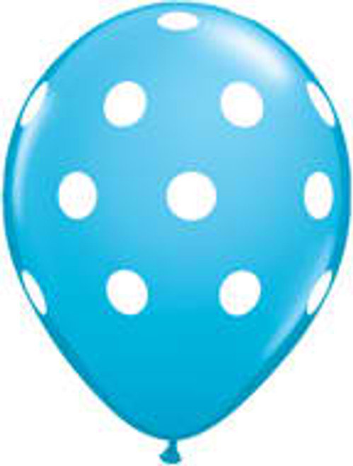"11"" Big Polka Dots Blue Latex Balloon"
