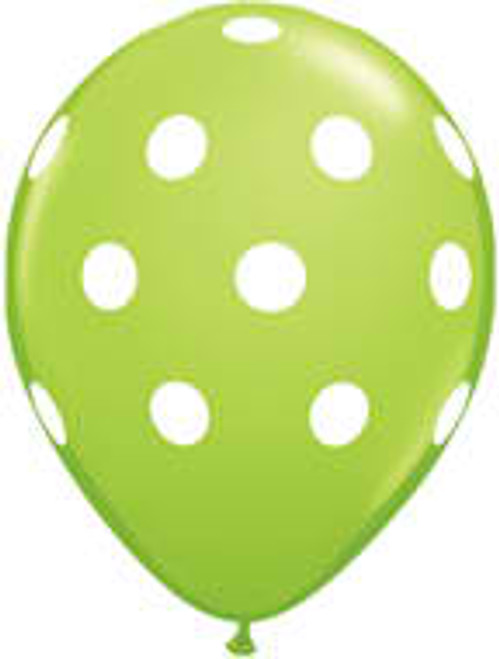 "11"" Big Polka Dots Lime Green Latex Balloon"