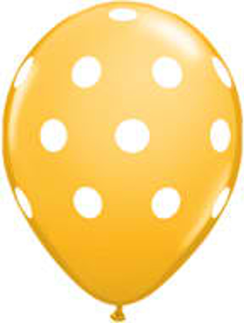 "11"" Big Polka Dots Goldenrod Latex Balloon"