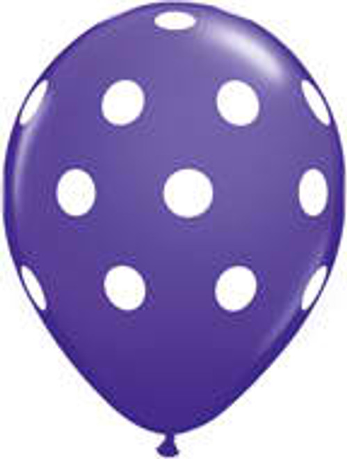 "11"" Big Polka Dots Purple Latex Balloon"