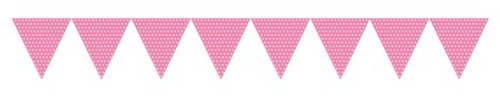 Candy Pink Paper Flag Banner with Dots