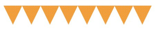 Orange Paper Flag Banner with Dots