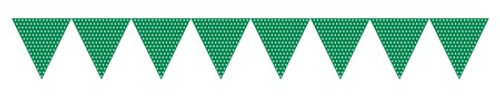 Green Paper Flag Banner with Dots