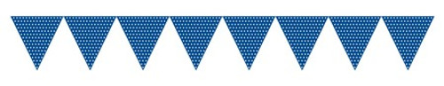 Blue Paper Flag Banner with Dots