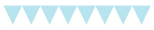 Light Blue Paper Flag Banner with Dots