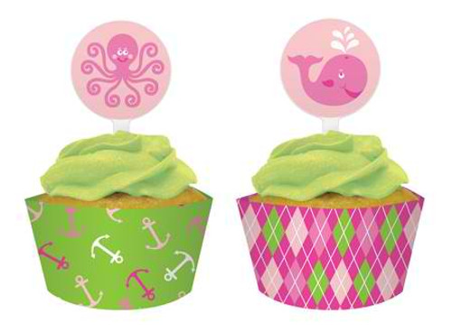 Ocean Preppy Girl Cupcake Wrapper & Picks