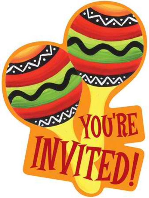 Fiesta Stripes Maracas Invitation Cards & Envelopes