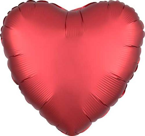 """17"""" Satin Luxe Sangria Heart Foil Balloon"""