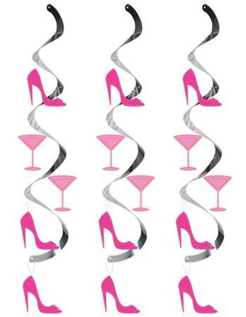 Bachelorette Party Glass & Heel Dizzy Danglers