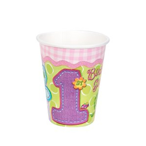 Hugs & Stitches Girl 1st Birthday Paper Cups