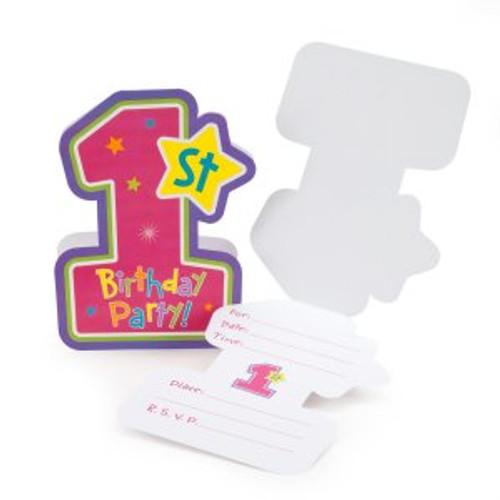 Hugs & Stitches Girl 1st Birthday Invitations