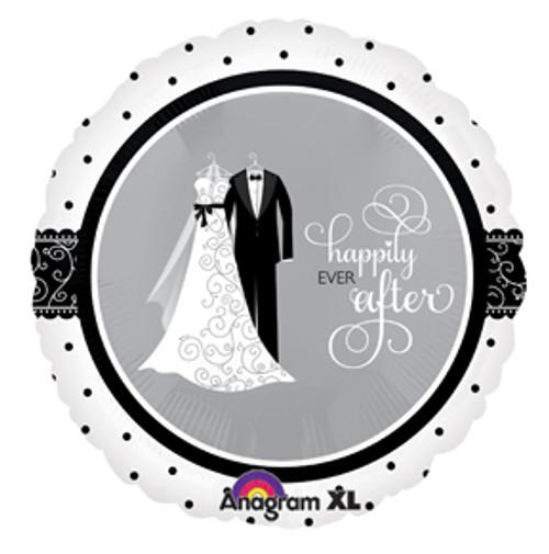 """18"""" Black & White Wedding Balloon"""