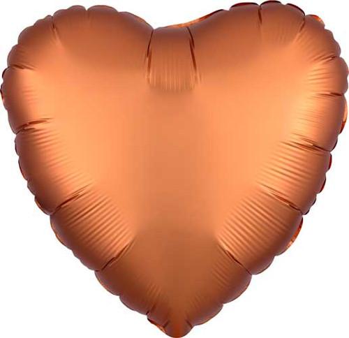 "17"" Satin Luxe Amber Heart Foil Balloon"