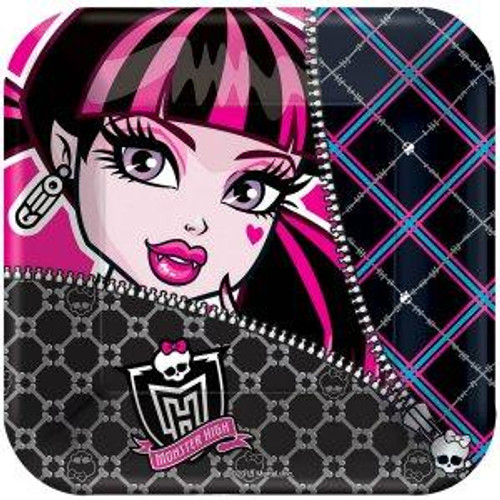 """Monster High 7"""" Square Dessert Plates"""