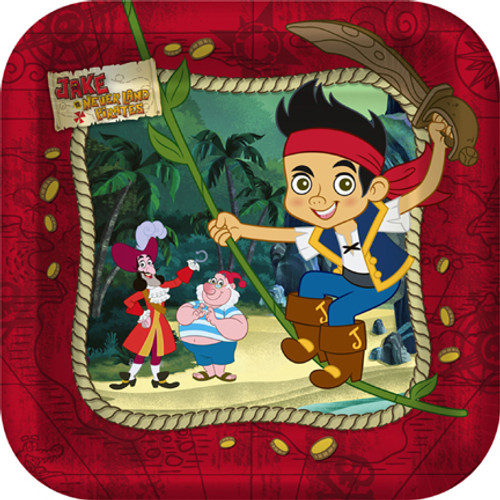 "Jake & Never Land Pirates 7"" Square Dessert Plates"
