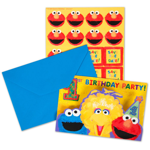 Sesame Street 1st Birthday Invitation With Envelopes Save Date Stickers Sticker Seals