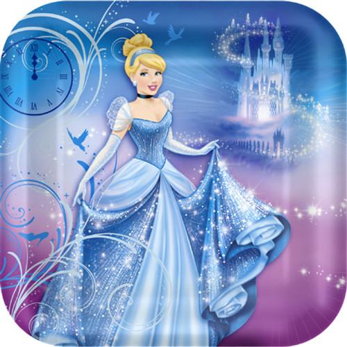 "Cinderella Sparkle 9"" Square Dinner Plates"