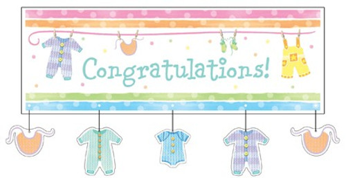 Baby Clothes Giant Party Banner with Attachment