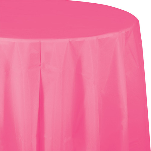 "Candy Pink 82"" Round Plastic Tablecover"
