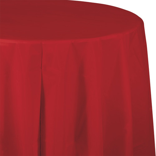 "Red 82"" Round Plastic Tablecover"