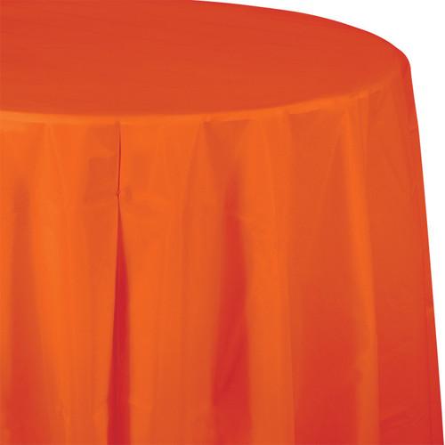 "Orange 82"" Round Plastic Tablecover"