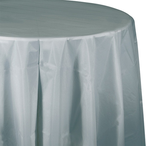 """Silver 82"""" Round Plastic Tablecover"""