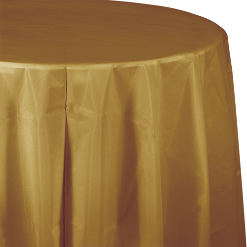 "Gold 82"" Round Plastic Tablecover"