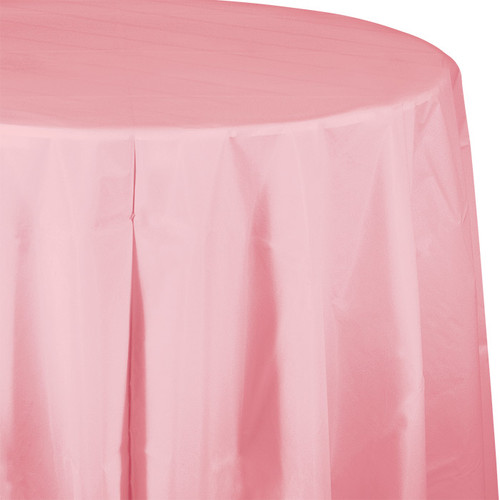 "Pink 82"" Round Plastic Tablecover"
