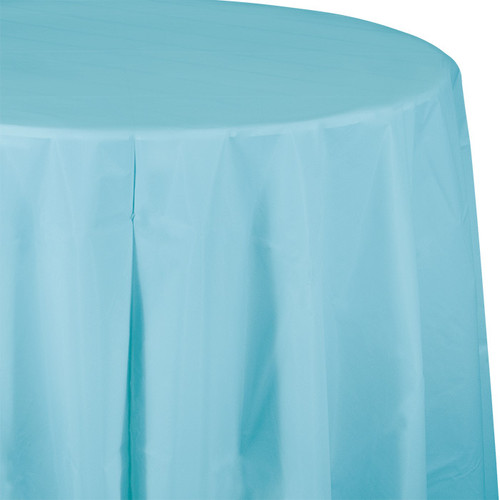 "Light Blue 82"" Round Plastic Tablecover"