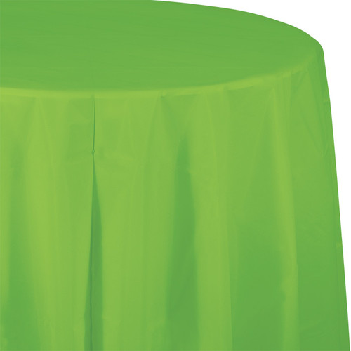 """Lime Green 82"""" Round Plastic Tablecover"""