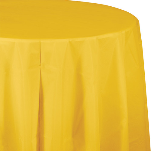 "Yellow 82"" Round Plastic Tablecover"