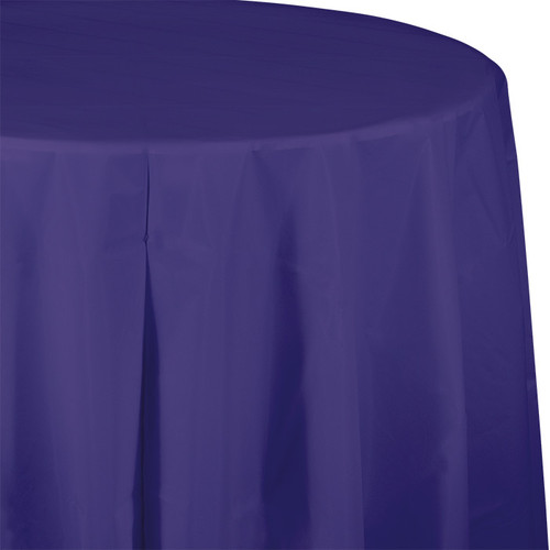 "Purple 82"" Round Plastic Tablecover"
