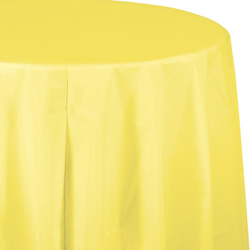 "Light Yellow 82"" Round Plastic Tablecover"