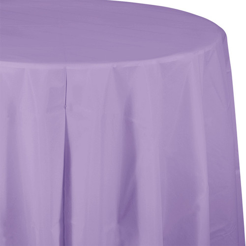 "Lavender 82"" Round Plastic Tablecover"