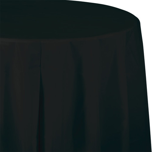 """Black 82"""" Round Plastic Tablecover"""
