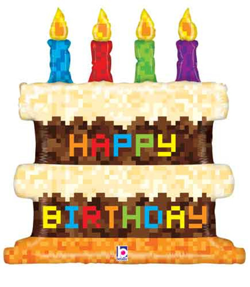"31"" Birthday Pixel Cake Super Shape Balloon"