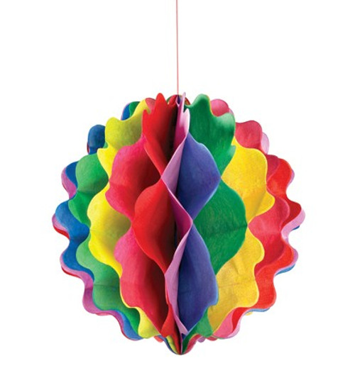 "Multicolor Vertical 8"" Honeycomb Ball"