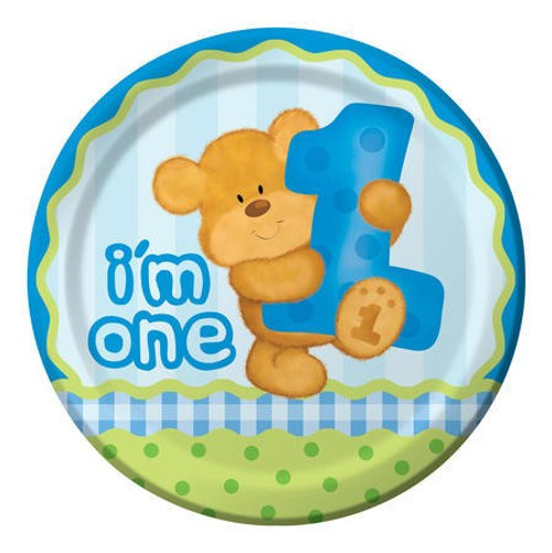 "Bears 1st Birthday Boy 9"" Dinner Plates"