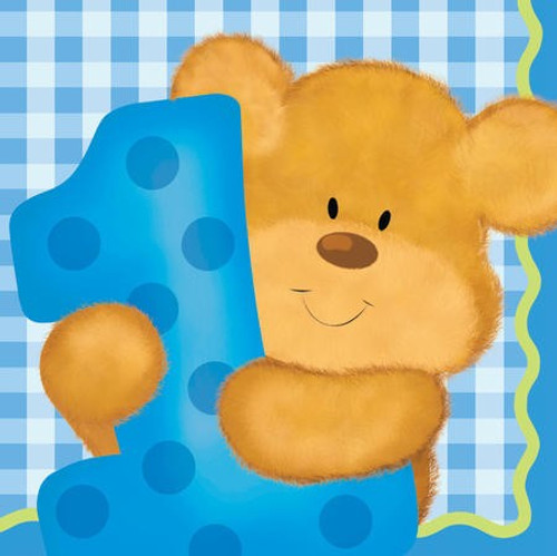 Bears 1st Birthday Boy Beverage Napkins