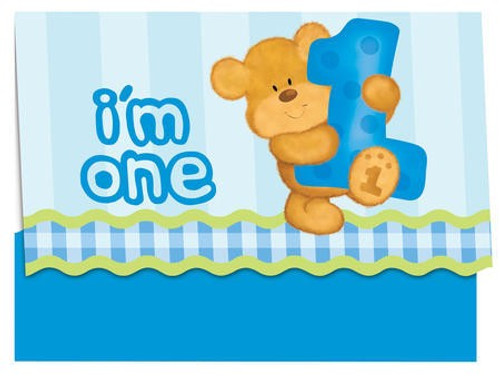 Bears 1st Birthday Boy Invitation Cards & Envelopes