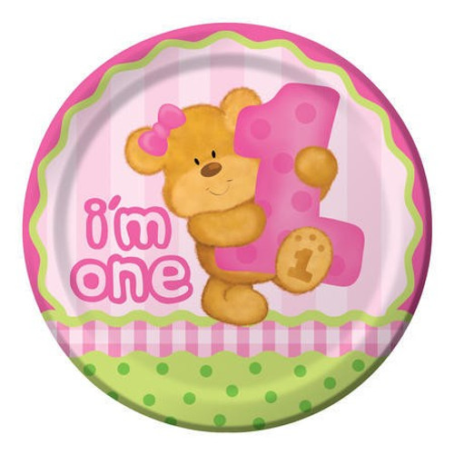 "Bears 1st Birthday Girl 9"" Dinner Plates"