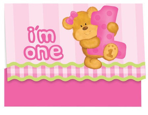 Bears 1st Birthday Girl Invitation Cards & Envelopes
