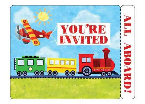 Vehicle On the Go Invitation Cards & Envelopes