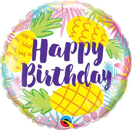 "18"" Birthday Pastel Pineapples Balloon"
