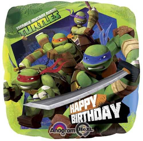 """17"""" Teenage Mutant Ninja Turtles Birthday Square Balloon"""