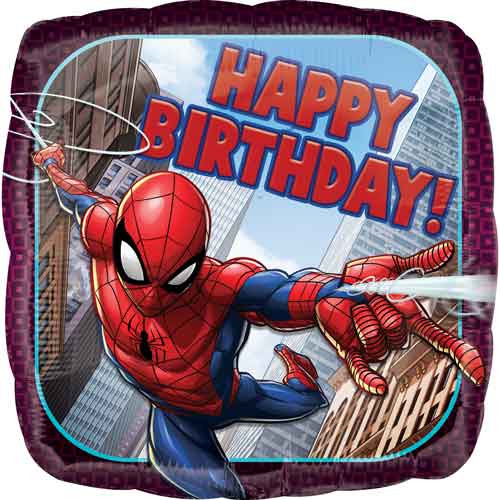 "17"" Spiderman Birthday Square Balloon"