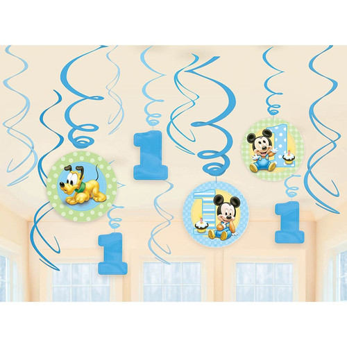 Mickey's 1st Birthday Swirl Danglers